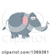 Clipart Of A Flat Design Happy Elephant Royalty Free Vector Illustration by Hit Toon