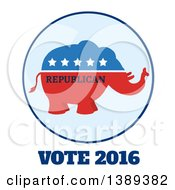 Red White And Blue Political Republican Elephant Label With Stars And Text Over Vote 2016