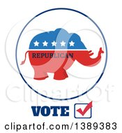 Clipart Of A Red White And Blue Political Republican Elephant Label With Stars And Text Over Vote Royalty Free Vector Illustration