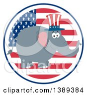 Clipart Of A Flat Design Political Republican Elephant Wearing An American Top Hat Over A Usa Flag Label Circle Royalty Free Vector Illustration