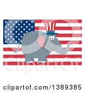 Clipart Of A Flat Design Political Republican Elephant Wearing A Top Hat Over An American Flag Royalty Free Vector Illustration