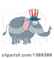 Clipart Of A Flat Design Political Republican Elephant Wearing An American Top Hat Royalty Free Vector Illustration