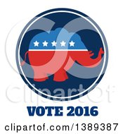 Clipart Of A Red White And Blue Political Republican Elephant With Stars Over Vote 2016 Text Royalty Free Vector Illustration