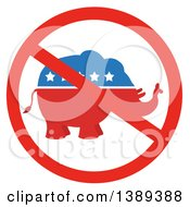 Clipart Of A Restricted Symbol Over A Red White And Blue Political Republican Elephant With Stars Royalty Free Vector Illustration by Hit Toon