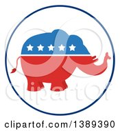 Clipart Of A Red White And Blue Political Republican Elephant With Stars In A Round Label Royalty Free Vector Illustration