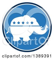 Clipart Of A Round Blue Political Republican Elephant With Stars Label Royalty Free Vector Illustration
