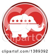 Clipart Of A Round Red Political Republican Elephant With Stars Label Royalty Free Vector Illustration