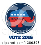 Clipart Of A Red White And Blue Political Republican Elephant Label With Stars And Text Over Vote 2016 Royalty Free Vector Illustration