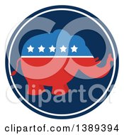 Clipart Of A Red White And Blue Political Republican Elephant With Stars In A Blue Round Label Royalty Free Vector Illustration