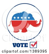 Clipart Of A Red White And Blue Political Republican Elephant With Stars And Vote Royalty Free Vector Illustration