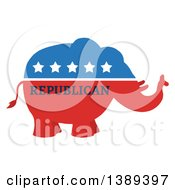Clipart Of A Red White And Blue Political Republican Elephant With Stars And Text Royalty Free Vector Illustration