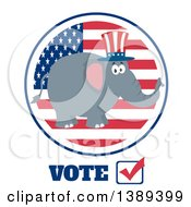 Flat Design Political Republican Elephant Wearing An American Top Hat Over A Usa Flag Label Circle And Vote Text