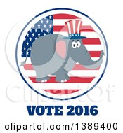 Clipart Of A Flat Design Political Republican Elephant Wearing An American Top Hat Over A Usa Flag Label Circle And Vote 2016 Royalty Free Vector Illustration