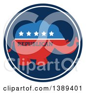 Clipart Of A Red White And Blue Political Republican Elephant Label With Stars And Text Royalty Free Vector Illustration
