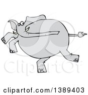Clipart Of A Cartoon Gray Elephant Running Royalty Free Vector Illustration