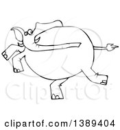 Cartoon Black And White Lineart Elephant Running
