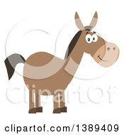 Clipart Of A Flat Design Happy Donkey Royalty Free Vector Illustration by Hit Toon