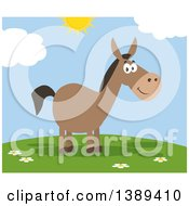 Clipart Of A Flat Design Happy Donkey On A Sunny Day Royalty Free Vector Illustration by Hit Toon