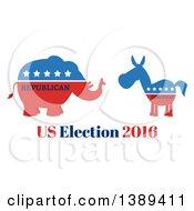 Red White And Blue Democratic Donkey Facing A Republican Elephant Over Us Election 2016 Text