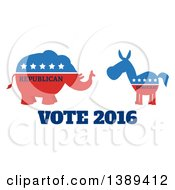 Clipart Of A Red White And Blue Democratic Donkey Facing A Republican Elephant Over Vote 2016 Text Royalty Free Vector Illustration