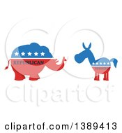 Clipart Of A Red White And Blue Democratic Donkey Facing A Republican Elephant With Text Royalty Free Vector Illustration