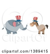 Clipart Of A Flag Design Political Democratic Donkey And Republican Elephant Facing Each Other Royalty Free Vector Illustration