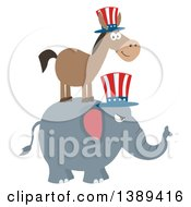Clipart Of A Flag Design Political Democratic Donkey On Top Of A Republican Elephant Royalty Free Vector Illustration