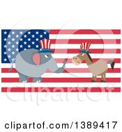 Clipart Of A Flag Design Political Democratic Donkey And Republican Elephant Facing Each Other Over An American Flag Royalty Free Vector Illustration