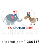 Clipart Of A Flag Design Political Democratic Donkey And Republican Elephant Facing Each Other Over Us Election 2016 Text Royalty Free Vector Illustration by Hit Toon
