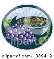 Clipart Of A Retro Woodcut Bunch Of Purple Grapes By A Bowl Of Raisins In An Oval With A Sunrise Or Sunset Royalty Free Vector Illustration by patrimonio