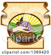 Clipart Of A Retro Woodcut Hand Holding A Bunch Of Purple Grapes Over A Bowl Of Raisins In A Scroll Crest With A Sunrise Or Sunset Royalty Free Vector Illustration