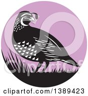 Clipart Of A Retro Black And White Quail Bird And Grass In A Purple Circle Royalty Free Vector Illustration by patrimonio