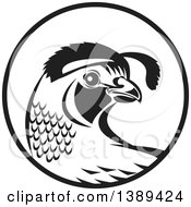 Clipart Of A Retro Black And White Quail Bird In A Circle Royalty Free Vector Illustration
