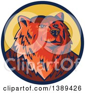 Clipart Of A Retro Woodcut Eurasian Brown Bear In A Blue And Yellow Circle Royalty Free Vector Illustration