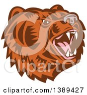Clipart Of A Retro Woodcut Roaring California Grizzly Bear Head Royalty Free Vector Illustration