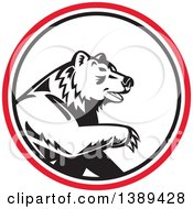 Clipart Of A Retro California Grizzly Bear In A Black White And Red Circle Royalty Free Vector Illustration by patrimonio