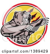 Clipart Of A Retro California Grizzly Bear Attacking In A Black White Yellow And Red Circle Royalty Free Vector Illustration