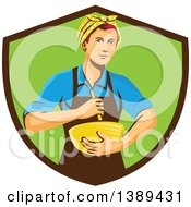Clipart Of A Retro White Female Chef Or Baker Holding A Mixing Bowl In A Brown And Green Shield Royalty Free Vector Illustration