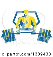 Clipart Of A Retro Male Bodybuilder Holding A Heavy Barbell And Emerging From A Blue And Yellow Shield Royalty Free Vector Illustration