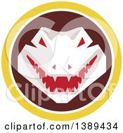 Clipart Of A Retro Snapping Alligator Or Crocodile In A Yellow White And Brown Circle Royalty Free Vector Illustration by patrimonio