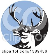 Clipart Of A Retro Whitetail Deer Buck Head In A Blue Circle Royalty Free Vector Illustration by patrimonio