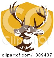 Clipart Of A Retro Whitetail Deer Buck Head In A Yellow Shield Royalty Free Vector Illustration by patrimonio