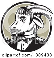 Clipart Of A Retro Woodcut Ram Goat In A Tuxedo In A Black White And Taupe Circle Royalty Free Vector Illustration