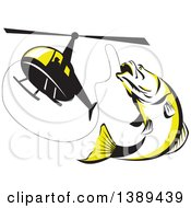Clipart Of A Retro Black White And Yellow Barramundi Asian Sea Bass Fish Jumping And Swallowing A Fishing Line Attached To A Helicopter Royalty Free Vector Illustration