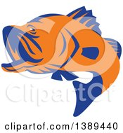 Clipart Of A Retro Orange And Blue Barramundi Asian Sea Bass Fish Jumping Royalty Free Vector Illustration