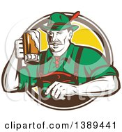 Retro German Man Wearing Lederhosen And Raising A Beer Mug For A Toast Emerging From A White Brown And Yellow Circle