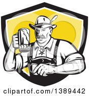 Clipart Of A Retro German Man Wearing Lederhosen And Raising A Beer Mug For A Toast Emerging From A Black White And Yellow Shield Royalty Free Vector Illustration
