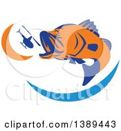 Clipart Of A Retro Orange And Blue Barramundi Asian Sea Bass Fish Jumping And Swallowing A Helicopter Royalty Free Vector Illustration by patrimonio