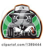 Clipart Of A Retro Tough Mobster With A Car Grill Head Cigar And Folded Arms In A Half Circle Royalty Free Vector Illustration
