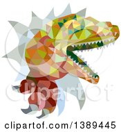 Clipart Of A Retro Low Poly Geometric Lizard Rator Or Tyrannosaurus Rex Breaking Through A Wall Royalty Free Vector Illustration